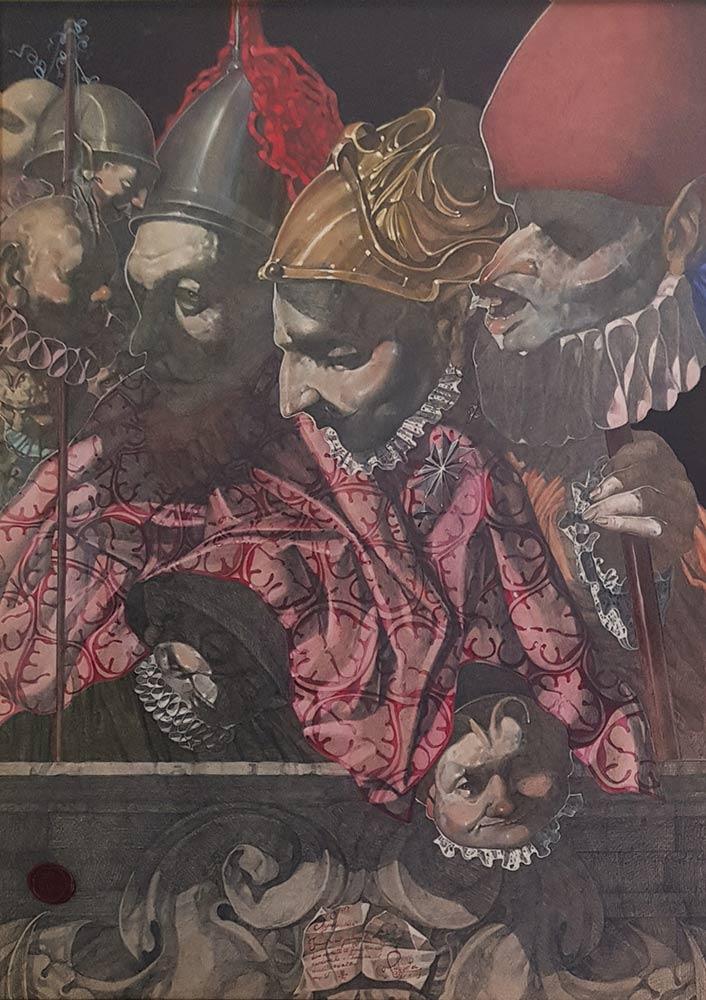 Umberto Piezzo, Napoli 1656. Incontro al palazzo tra due monatti il fantasma del cardinale e i cherubini del diavolo e della morte.