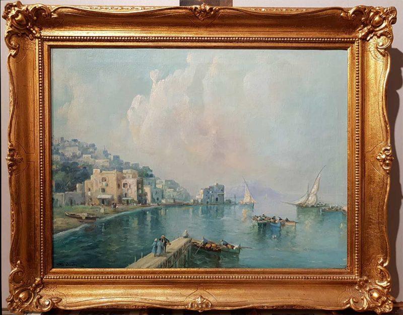 Quadro di Giuseppe Salvati, Marina, con cornice