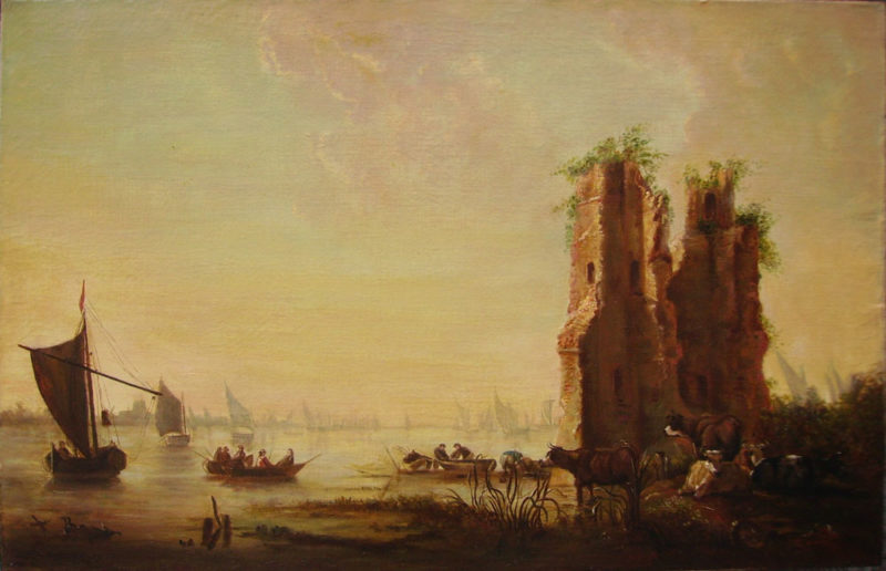 dipinto antico paesaggio fiammingo