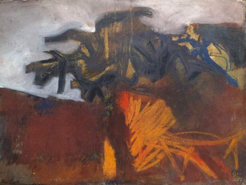 Dipinto di Raffaele Lippi, paesaggio del 1956