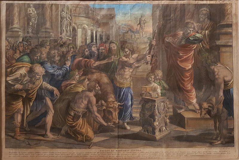 """stampa antica """"Paolo e Barnaba a Listra"""", Dorigny da Raffaello"""