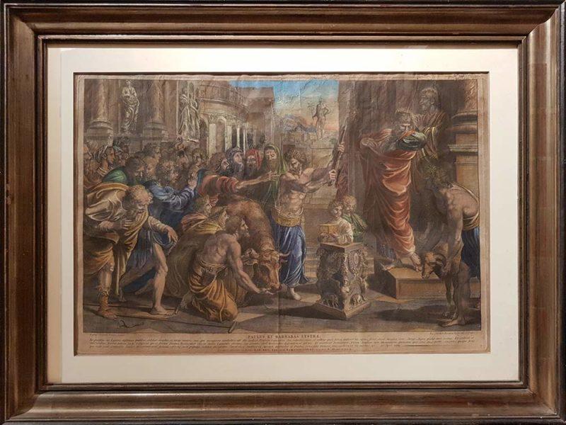 """Stampa antica con cornice """"Paolo e Barnaba a Listra"""", Dorigny da Raffaello"""