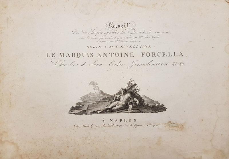 """Frontespizio della """"Raccolta delle più belle vedute di Napoli e dei suoi abitanti disegnate da Luigi Fergola e incise da Vincenzo Aloja"""""""
