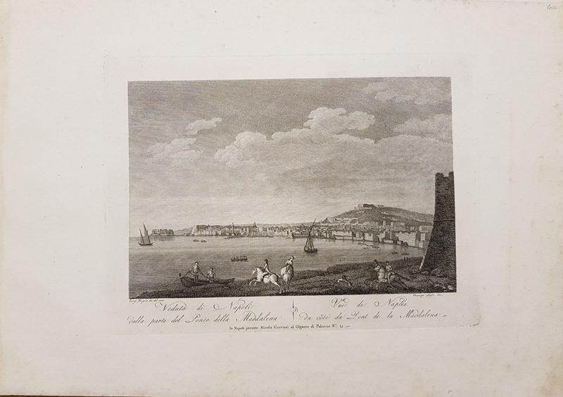 stampa antica di Luigi Fergola e Vincenzo Aloja, raffigurante la Veduta di Napoli
