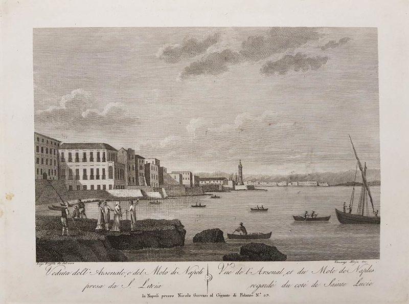 stampa antica di aloja e fergola Veduta dell'arsenale e del molo di Napoli presa da S. Lucia