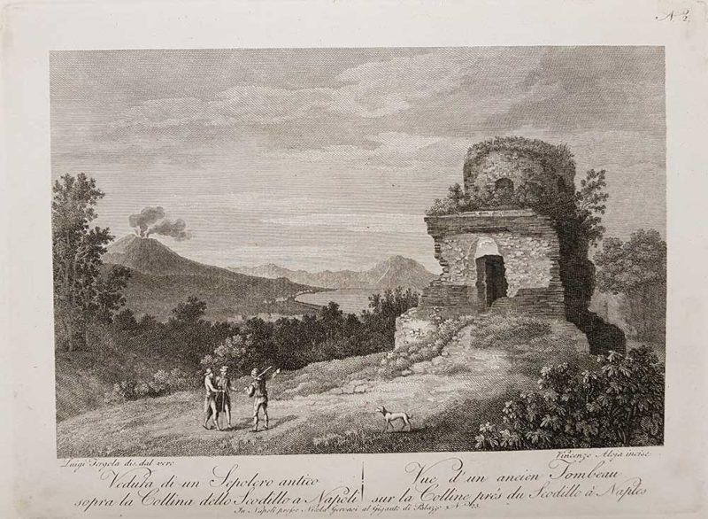 stampa antica di aloja e fergola raffigurante la collina dello scodillo a napoli