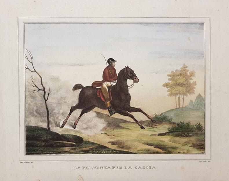 Stampa antica raffigurante la partenza per la caccia