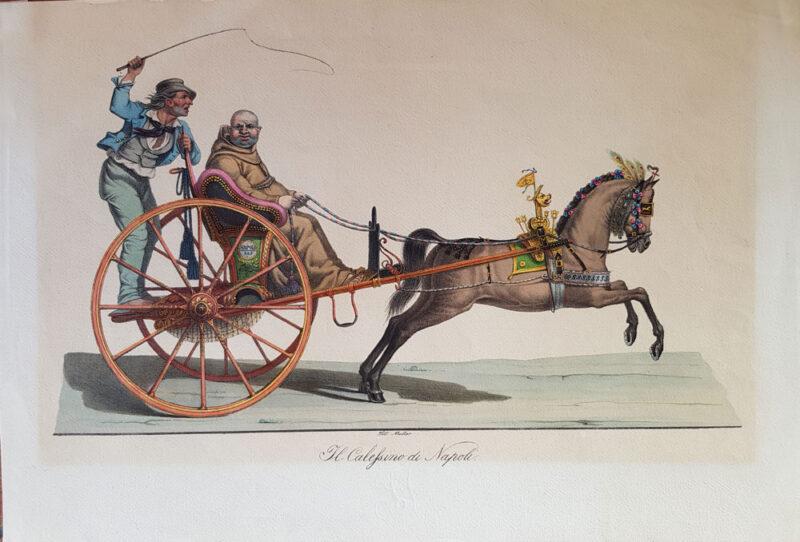 Stampa antica del 1820, litografia di Rudolf Muller raffigurante Il Calessino di Napoli