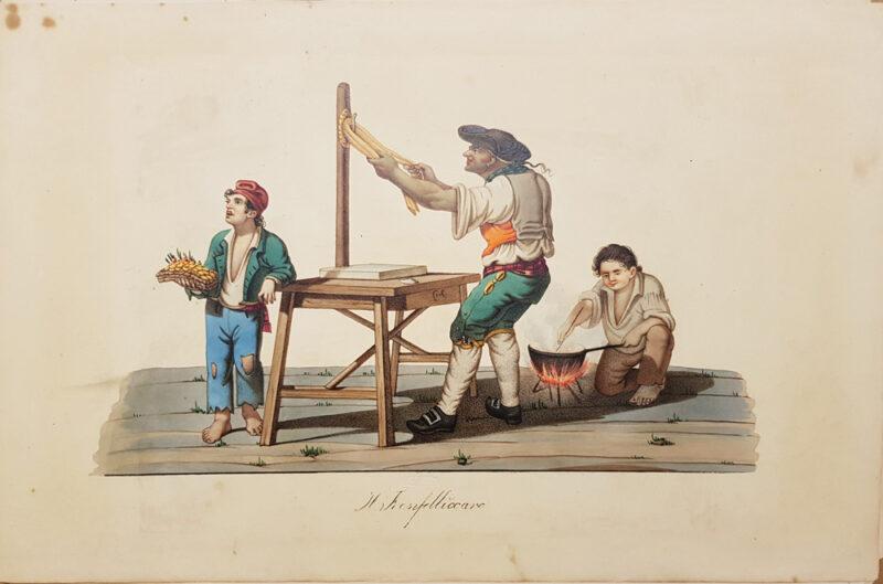 Stampa antica del 1820, litografia di Rudolf Muller raffigurante Il Franfelliccaro