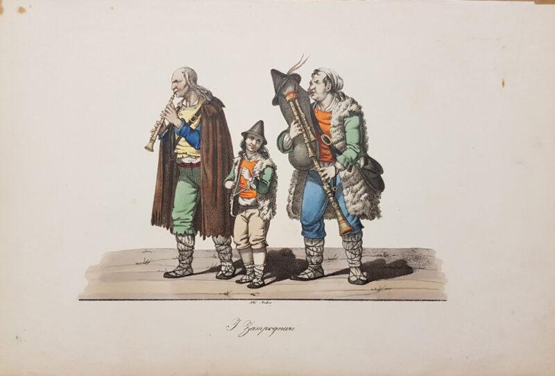 Stampa antica del 1820, litografia di Rudolf Muller raffigurante I Zampognari