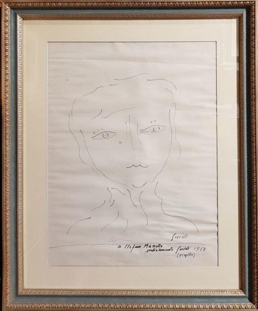 """Disegno di Virgilio Guidi, """"Testa"""", con cornice"""