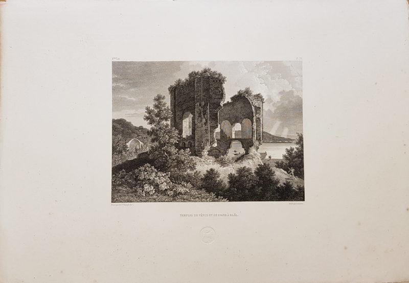 stampa antica di Turpin de Crissè raffigurante i tempi di Venere e Diana a Baia