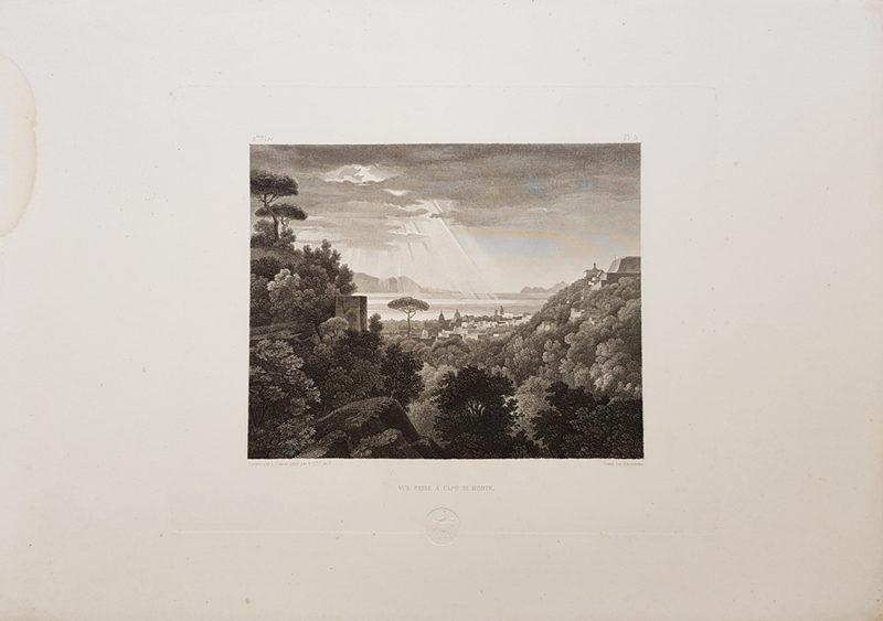 stampa antica di turpin de crisse' raffigurante la veduta del Golfo di Napoli presa da Capodimonte