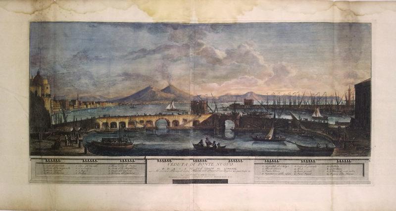 stampa antica della veduta di ponte nuovo del porto di napoli