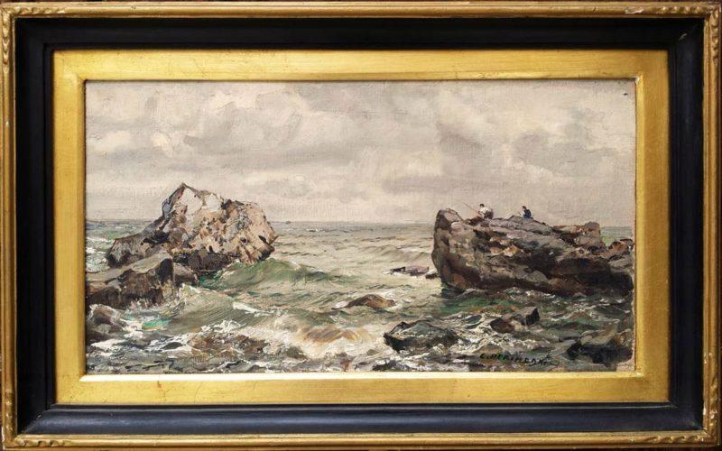 foto del dipinto di carlo perindani capri con cornice