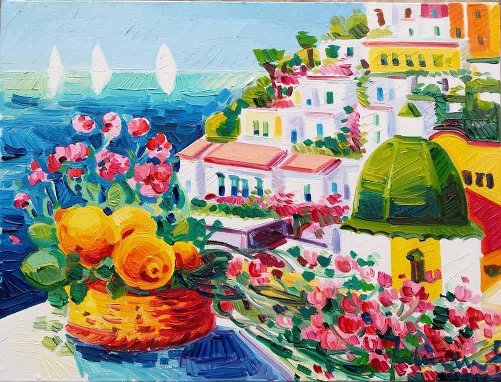 Athos Faccincani, Positano. Un cesto di fiori e di limoni