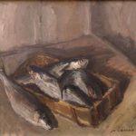 quadro di errico placido raffigurante una cassetta di pesci