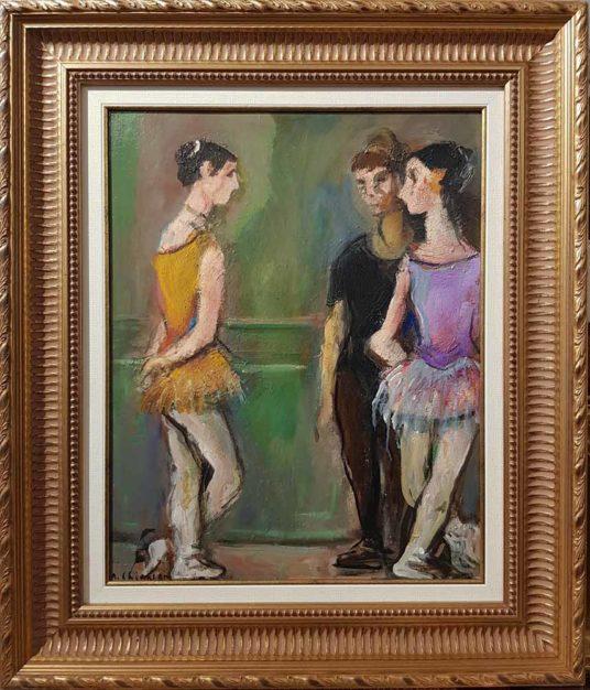 dipinto di alberto chiancone raffigurante ballerine a riposo, con cornice