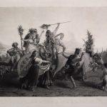 stampa antica di Leopold Robert raffigurante il Ritorno dalla festa della Madonna dell'Arco