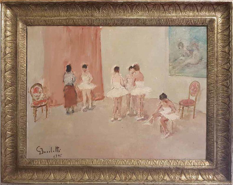 quadro del pittore gaetano bocchetti scuola di danza del 1975 con cornice