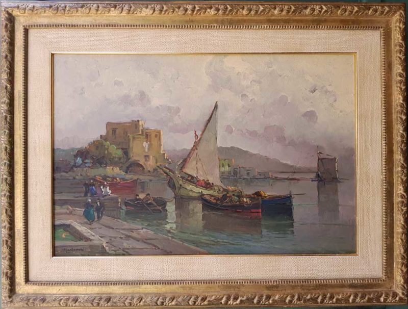 dipinto del pittore antonio-madonna raffigurante porticciolo