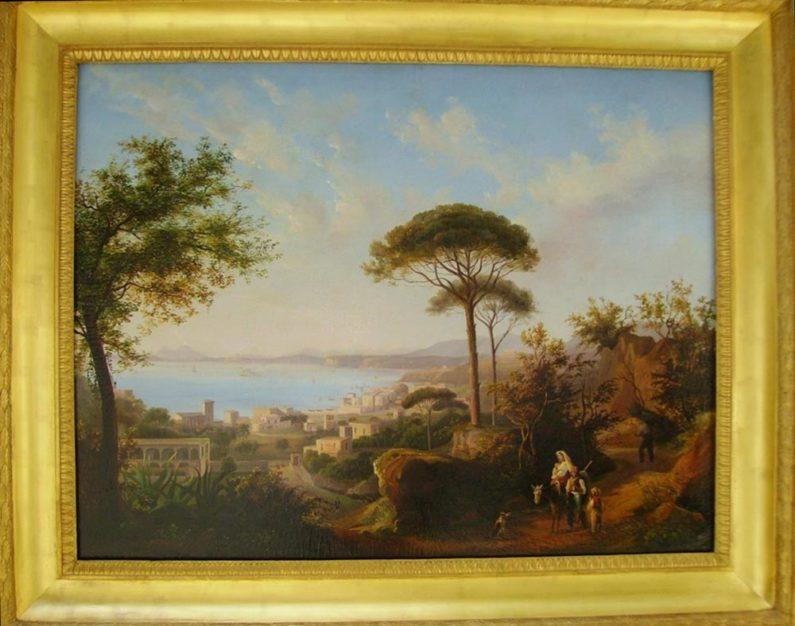 """Dipinto firmato """"Asselin"""", Scuola di Posillipo raffigurante il Vesuvio da Lacco Ameno (Ischia), olio su tela 75x100 cm di inizio XIX secolo con splendida cornice coeva (95x120 cm)"""