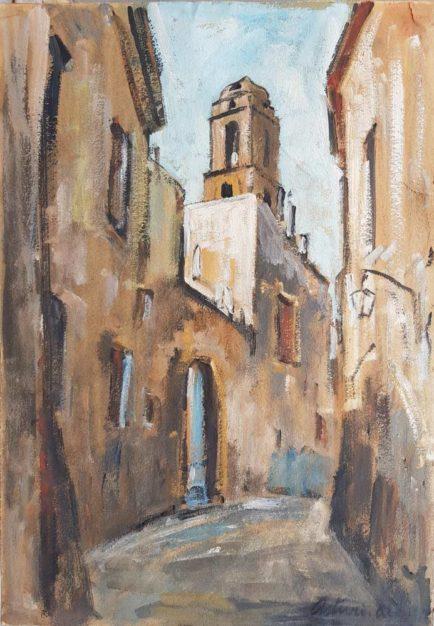 Dipinto di Antonio Asturi raffigurante scorcio di Caserta Vecchia