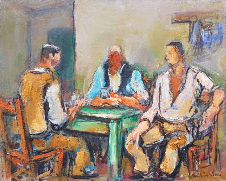 Dipinto di Alberto Chiancone, La partita a carte