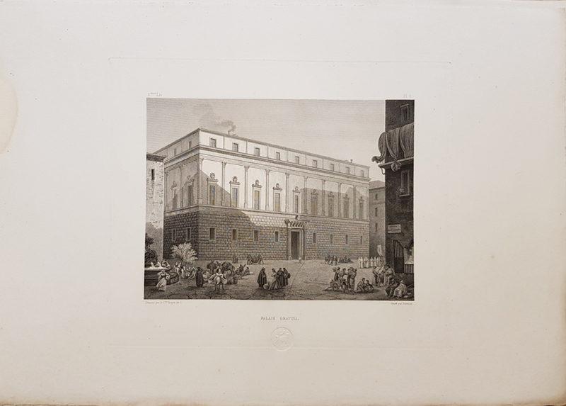 stampa antica raffigurante palazzo gravina in un'incisione di turpin de crissé del 1828
