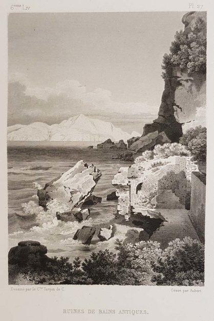 stampa antica di Turpin de Crissè, Capri, Rovine di antiche terme