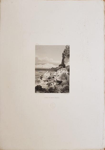 Foglio intero della stampa antica di Turpin de Crissè, Capri, Rovine di antiche terme