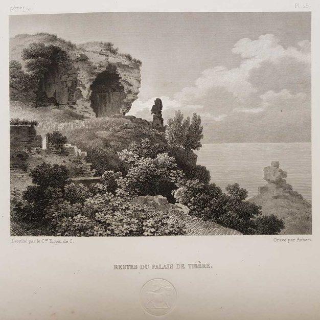 stampa antica di Turpin de Crissè, Capri, Resti del palazzo di Tiberio