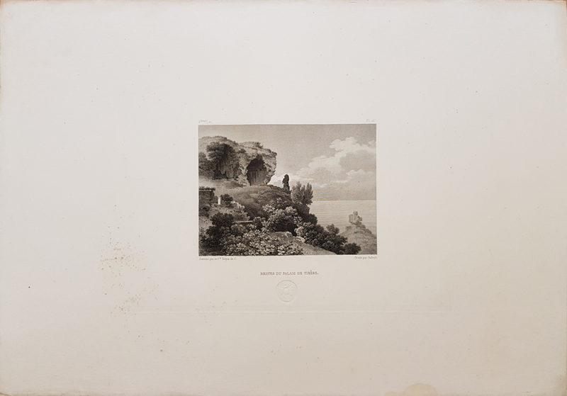 Foglio intero della stampa antica di Turpin de Crissè, Capri, Resti del palazzo di Tiberio
