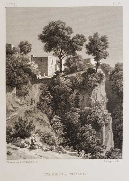 stampa antica di Turpin de Crissè, Ischia, Fontana