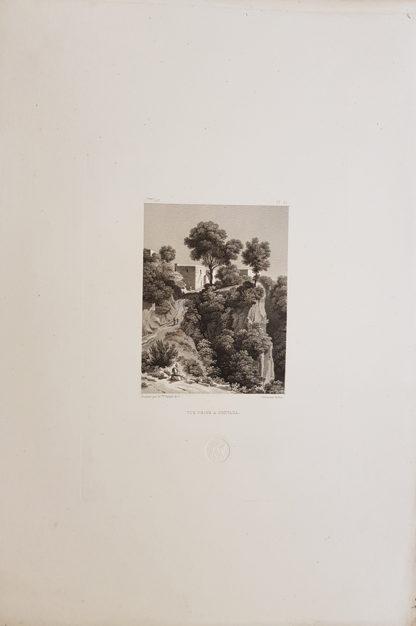 Foglio intero della stampa antica di Turpin de Crissè, Ischia, Fontana