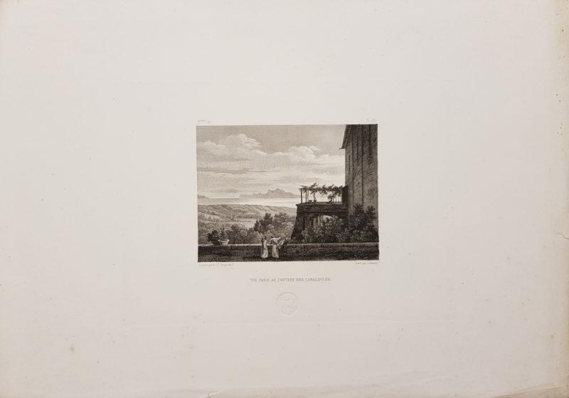Foglio intero della stampa antica di Turpin de Crissè, Napoli, Camaldoli