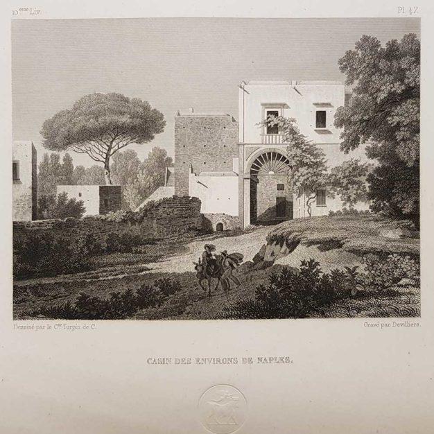 stampa antica di Turpin de Crissè, casa napoletana