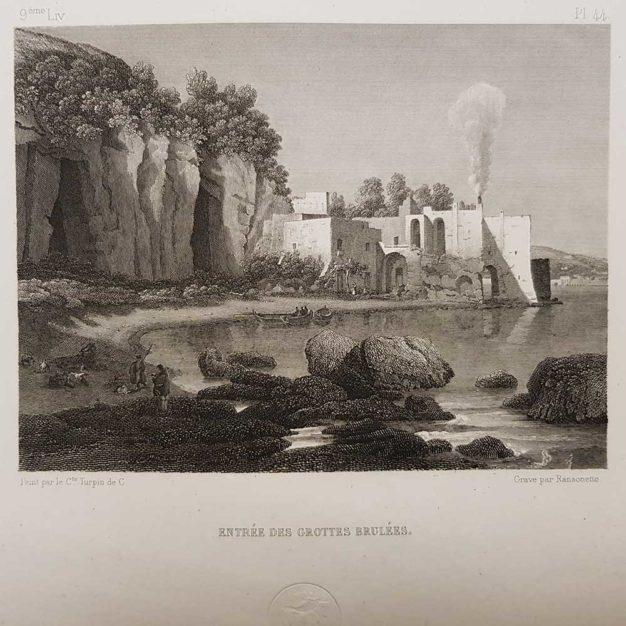 stampa antica di Turpin de Crissè, Napoli, Grotte bruciate