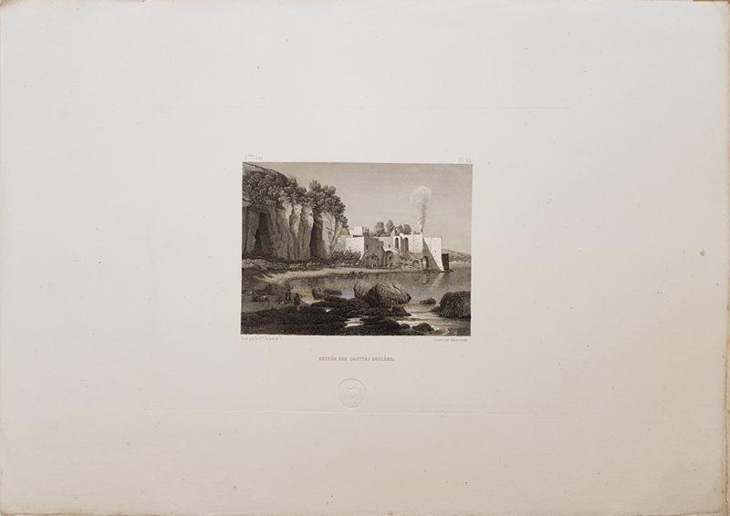 Foglio intero della stampa antica di Turpin de Crissè, Napoli, Grotte bruciate