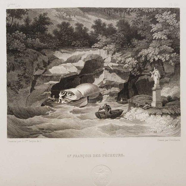 stampa antica di Turpin de Crissè, Napoli, San Francesco dei pescatori