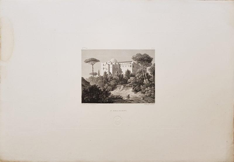 Foglio intero della stampa antica di Turpin de Crissè, Napoli, santa Maria ai monti