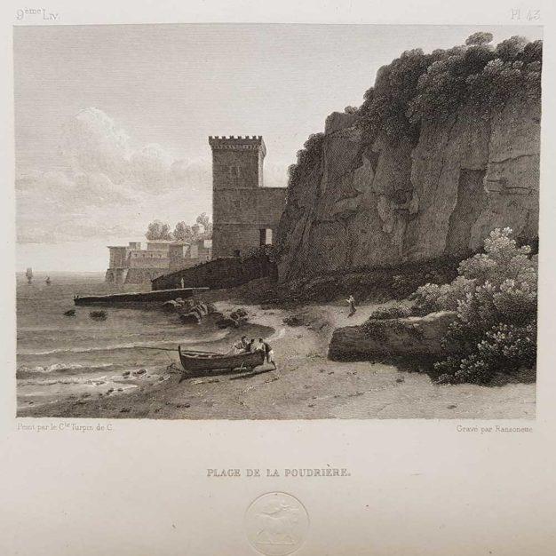stampa antica di Turpin de Crissè, Napoli, spiaggia della polveriera