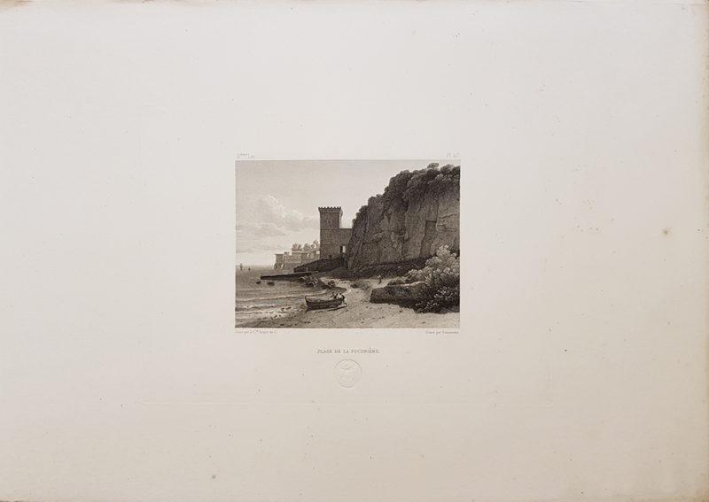 Foglio intero della stampa antica di Turpin de Crissè, Napoli, spiaggia della polveriera