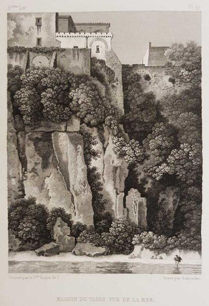 stampa antica di Turpin de Crissè, Sorrento, La casa del Tasso vista dal mare