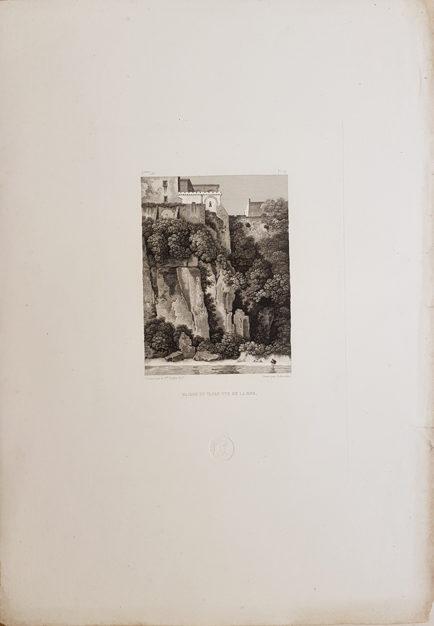 Foglio intero della stampa antica di Turpin de Crissè, Sorrento, La casa del Tasso vista dal mare