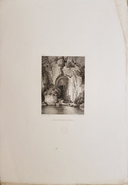 Foglio intero della stampa antica di Turpin de Crissè, Sorrento, Resti di un tempio di Nettuno