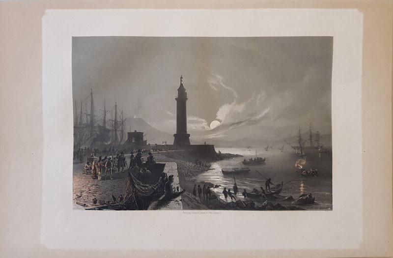 Stampa antica di Billmark, notturno Golfo di Napoli