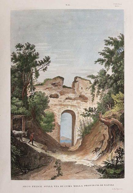 Stampa antica di Attilio Zuccagni Orlandini su Arco Felice
