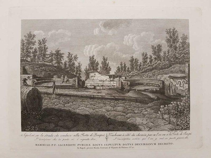 stampa antica di vincenzo aloja raffigurante sepolcri a pompei