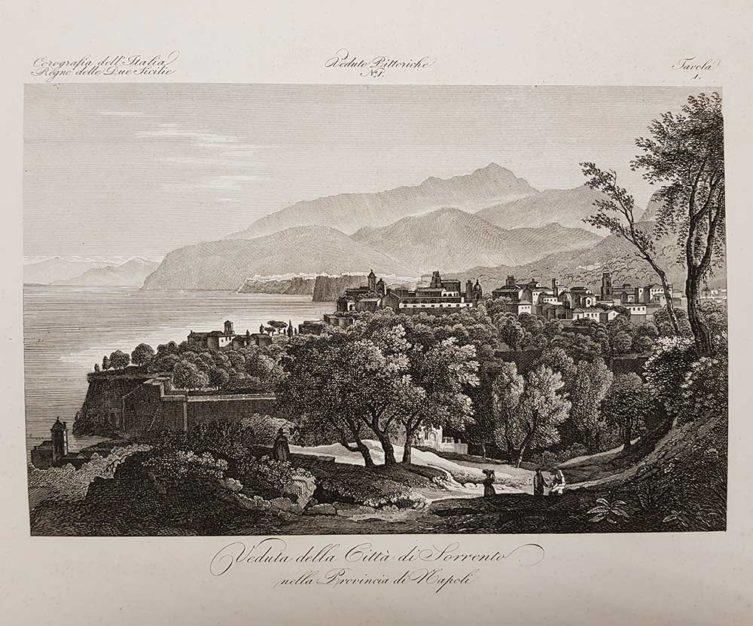 Stampa antica con panorama di Sorrento di Attilio Zuccagni Orlandini